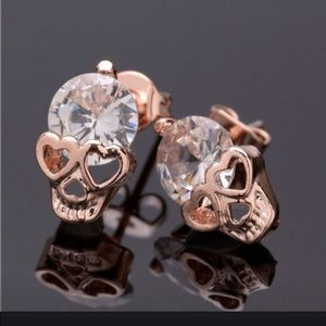 Jewelry - Rose Gold Skull Earrings